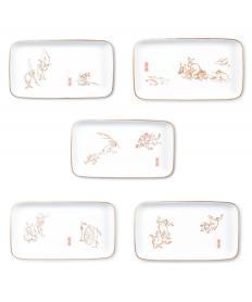 長角皿五枚組「鳥獣人物戯画」【送料無料】