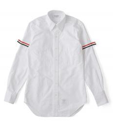 【THOM BROWNE】 袖リボンボタンダウンシャツ(100ホワイト) 【送料無料】